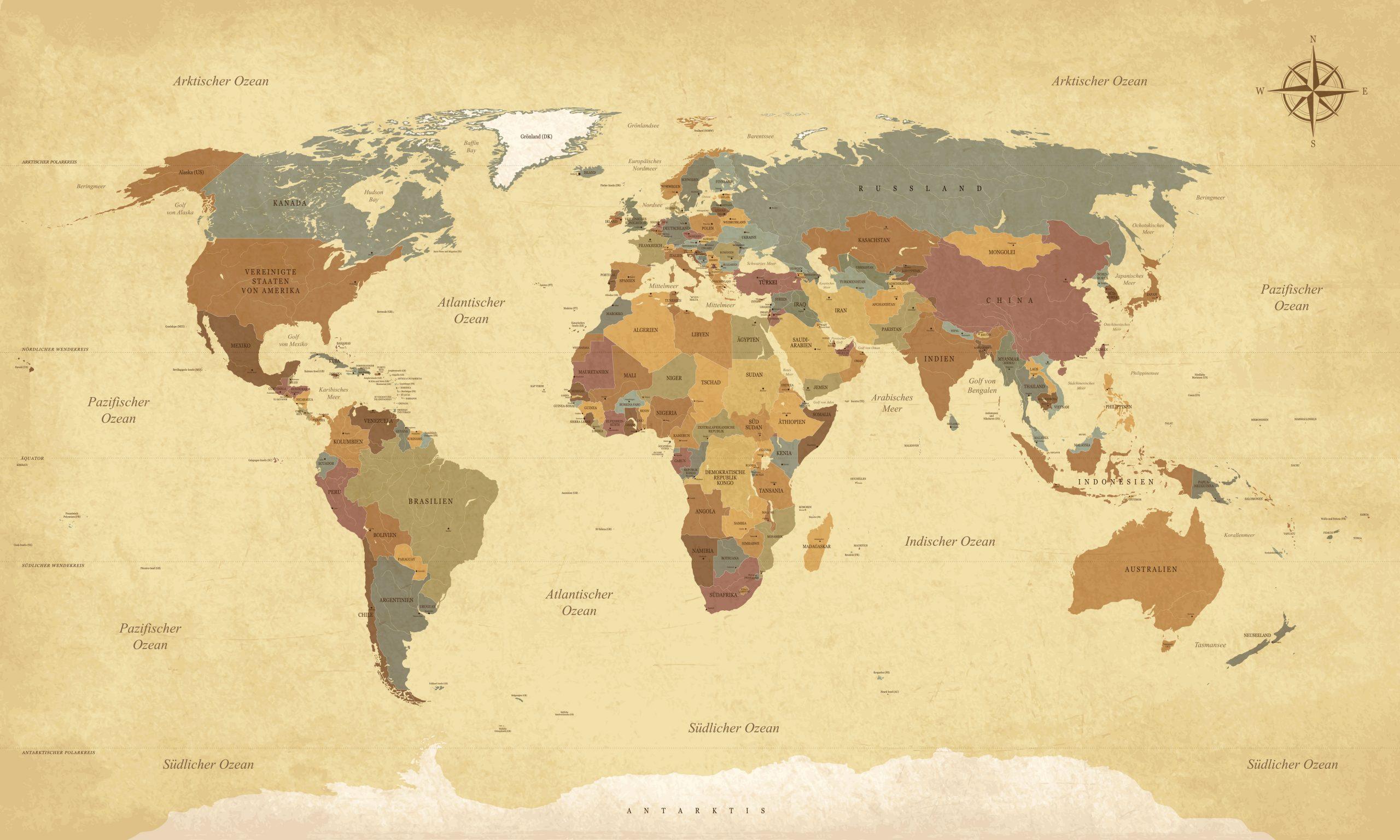 Textured vintage world map - German language - Vector